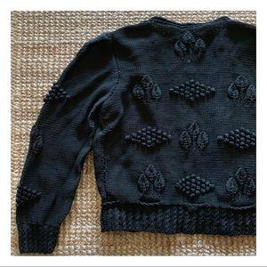Vintage German cotton popcorn knit sweater jacket